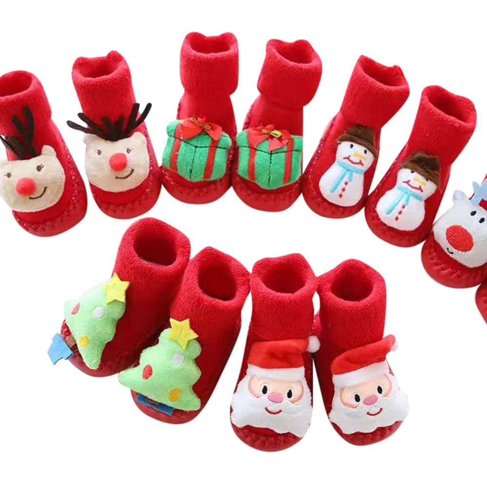 Christmas Baby Socks Newborn Baby Girls Boys Kids Winter Socks Toddler Warm Soft Cartoon Anti-slip Socks Baby Boot Socks