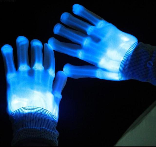 HALLOWEEN Electro Skeleton PINK BLUE ORANGE Light Up Rave Party Gloves
