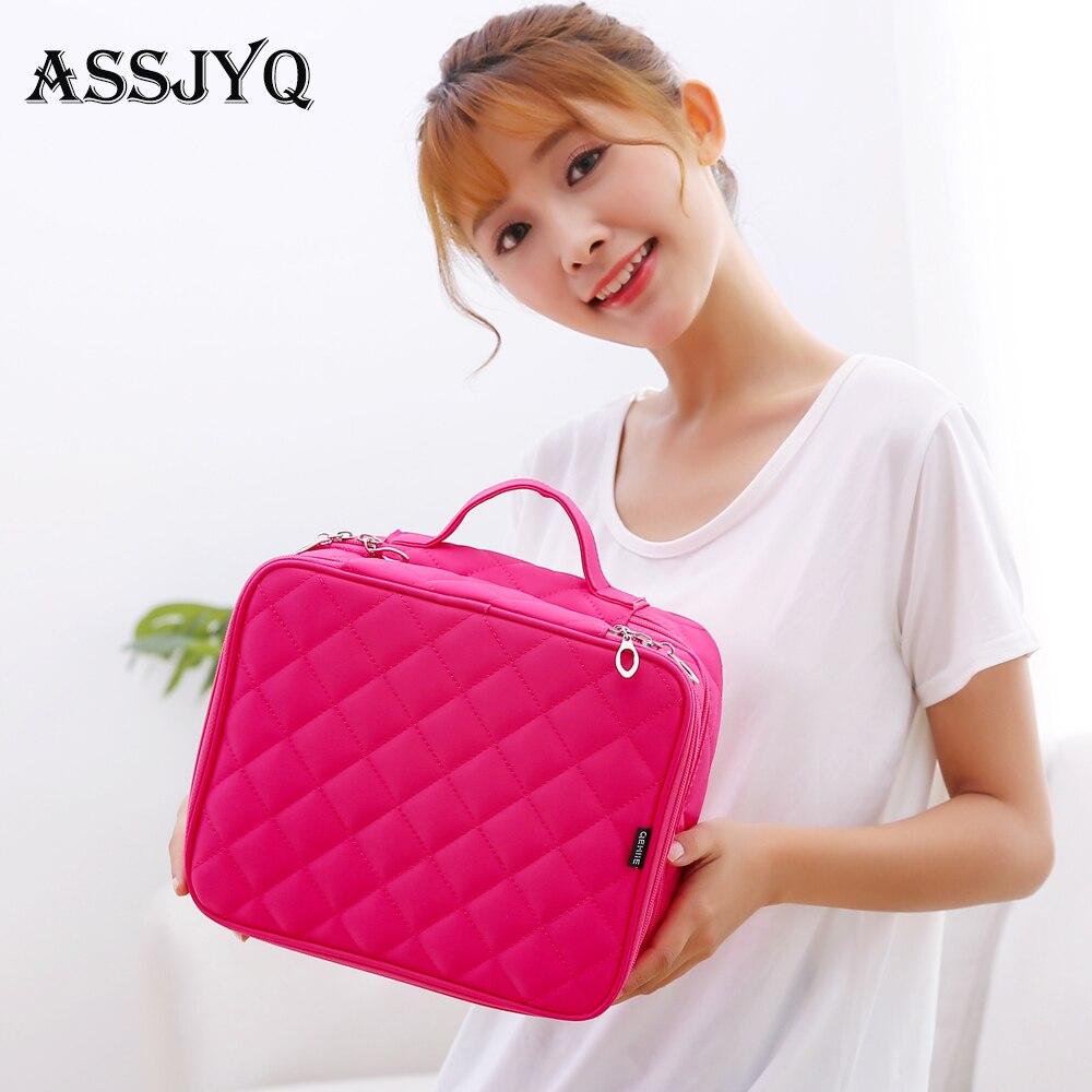 Women Double Cosmetic Bag Travel Waterproof Nylon Cosmetic Case Storage Bags Cosmetologist Essential Storage Brush Makeup Bag