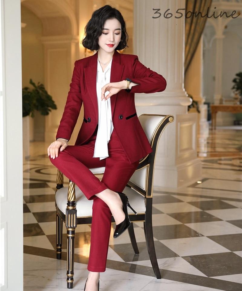 Ladies Professional Uniform Styles Blazers Suits With 2 Piece Set Pencil Pants And Jackets Coat Women Business Work Wear Blazers