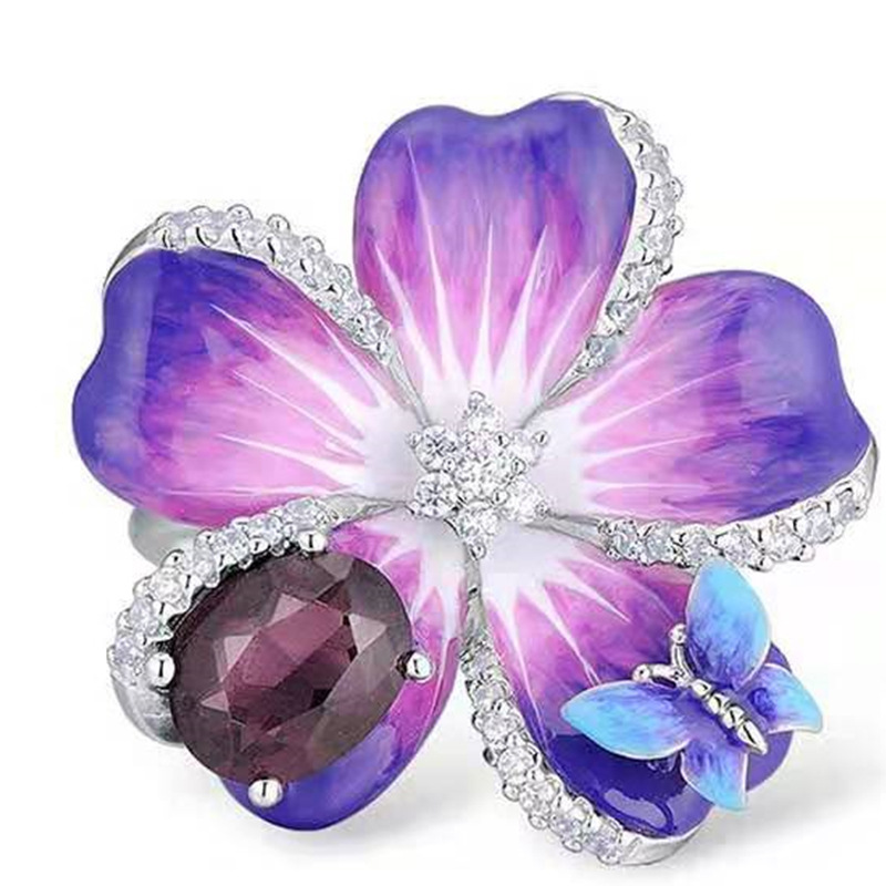 Female Luxruy Butterfuly Flower Ring Purple Rhinestone Stone Rings Wedding Band Promise Love Engagement Rings
