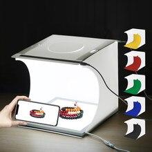 Nova marca 20cm mini portátil dobrável 2 estúdios led + shadowless inferior conjunto de lâmpada tiro para modelos de escala acessórios moda