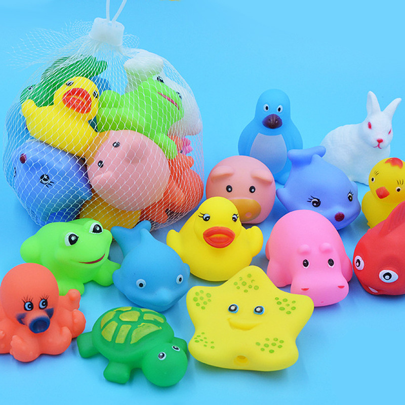 10 Pcs/set Baby Cute Animals Bath Toy Swimming Water Toys Soft Rubber Float Squeeze Sound Kids Wash Play Funny Gift