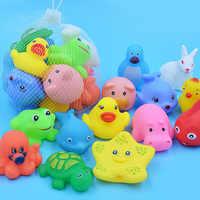10 unidades/juego de animales para bebé, juguete de baño para nadar, flotador de goma suave, sonido al estrujar, divertido regalo para niños