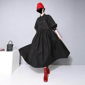 Image 3 - [EAM] 여성 붕대 활 분할 공동 Pleated 빅 사이즈 드레스 새로운 옷깃 긴 소매 느슨한 맞는 패션 조수 봄 가을 2020 1D752