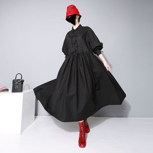 Image 3 - [EAM] Women Bandage Bow Split Joint Pleated Big Size Dress New Lapel Long Sleeve Loose Fit Fashion Tide Spring Autumn 2020 1D752