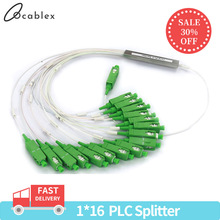 10 PCS/Lot 1X2 1X4 1X8 1X16 1X32 PLC SC/APC SM 0.9mm G657A1 PVC 1m FTTH Fiber Optic Splitter