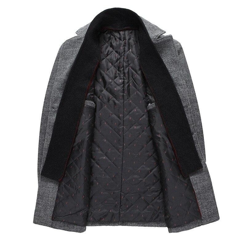 Men Winter Wool Coat 2020 Men's New Casual Warm Thick Solid Color Wool Blends Woolen Pea Coat Male Trench Coat Overcoat