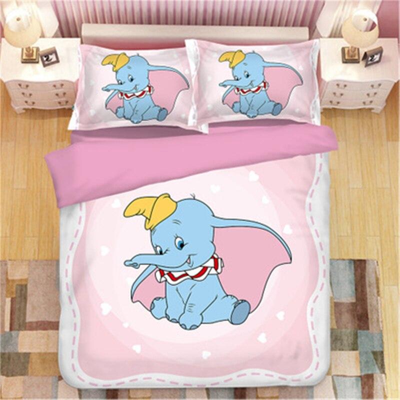 Cartoon Dumbo Bedding Sets Boy Girls Single double Twin king queen Kids luxury Duvet Cover Set