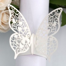 50pcs laser hollow paper ring buckle Butterfly towel white napkin for Wedding Home Decoration Party Supplies