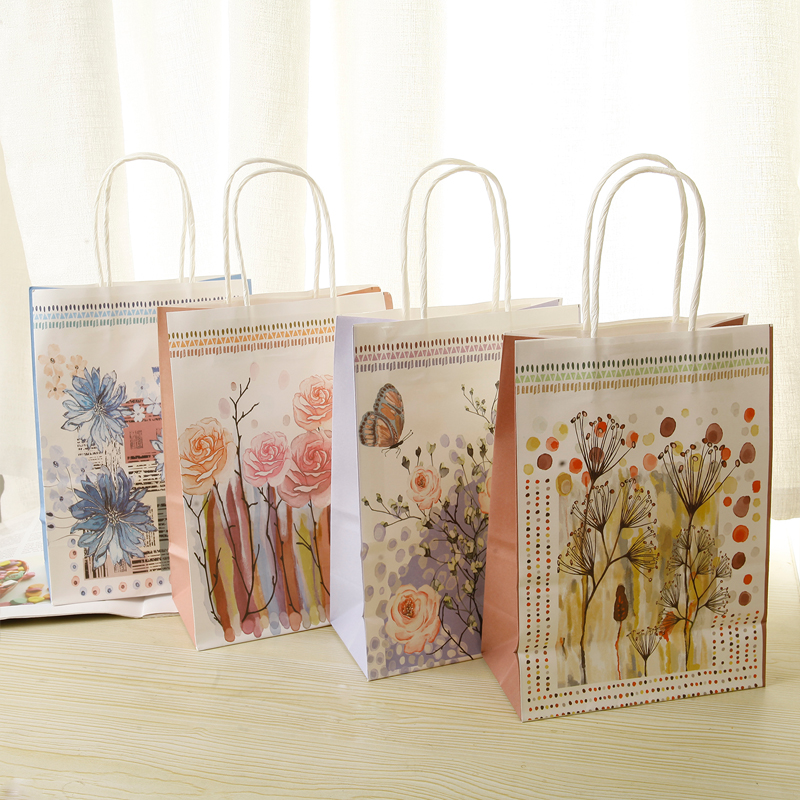10pcs/lot 21x15x8cm Lovely Flower Print Rose Dandel Paper Bags With Handle Birthday New Year Party Multifuntion Package Bags