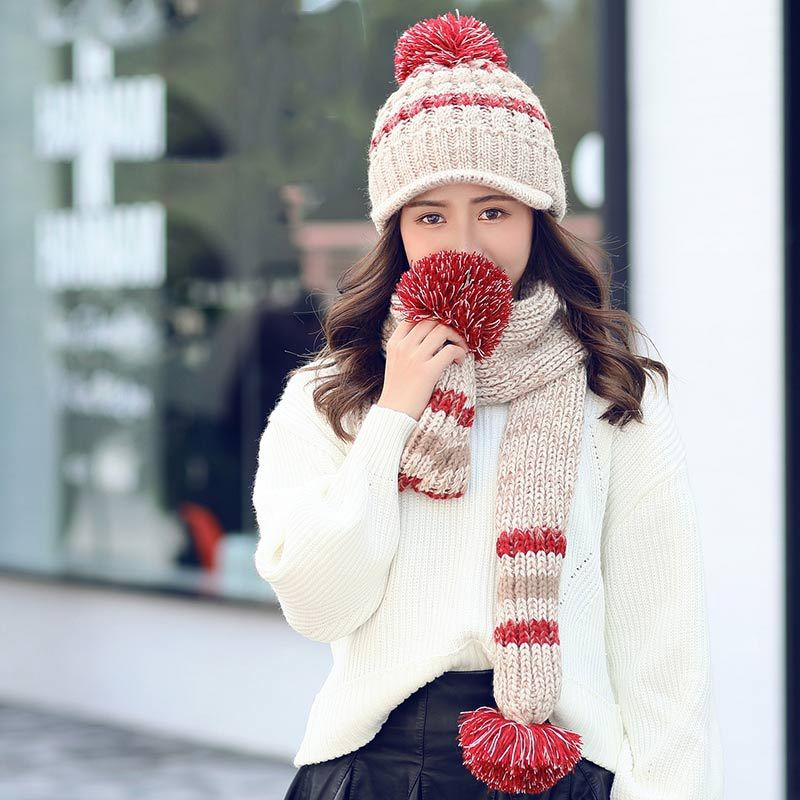 Winter Hat And Scarf Glove Set For Women Thicken Wool Warm Kitted Hats And Scarves Bonnet Beanie Caps Winter Women Hat