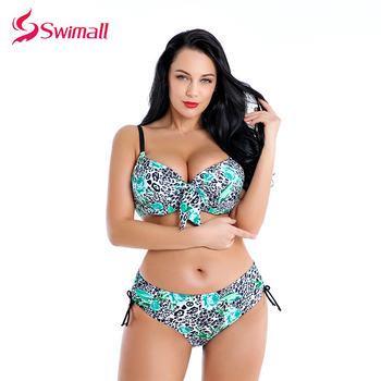 2019 Plus Size Swimwear Women Leopard Print Bathing Suit Large Size Bikini Set Swimsuit biquinis Maillot De Bain Swimming Suit