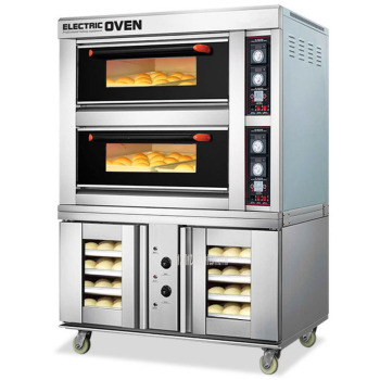 Commercial Electric Oven Baking and Proofing Fermentation Machine Pizza Bread Baking Machine 2 Layer 4 Tray Intelligent Oven commercial baking bakery machine widely use industrial electric conveyor belt type pizza oven