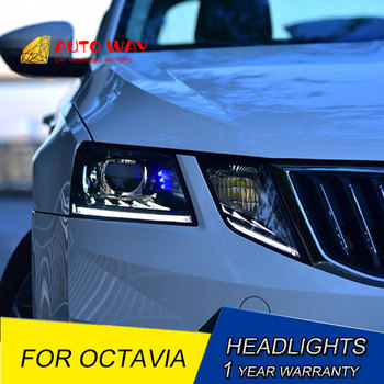 Car styling LED HID Rio LED Head Lamp case for Skoda Octavia headlights 2018 LED Skoda Octavia headlight Lens low beam