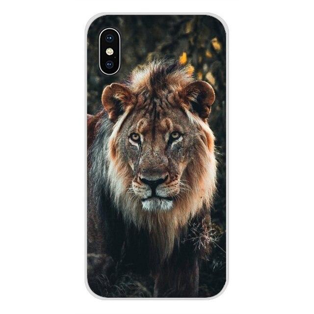 Król zwierząt lew i tygrys akcesoria telefon pokrywa dla Apple iPhone X XR XS 11 pro MAX 4S 5S 5C SE 6S 7 8 Plus ipod touch 5 6
