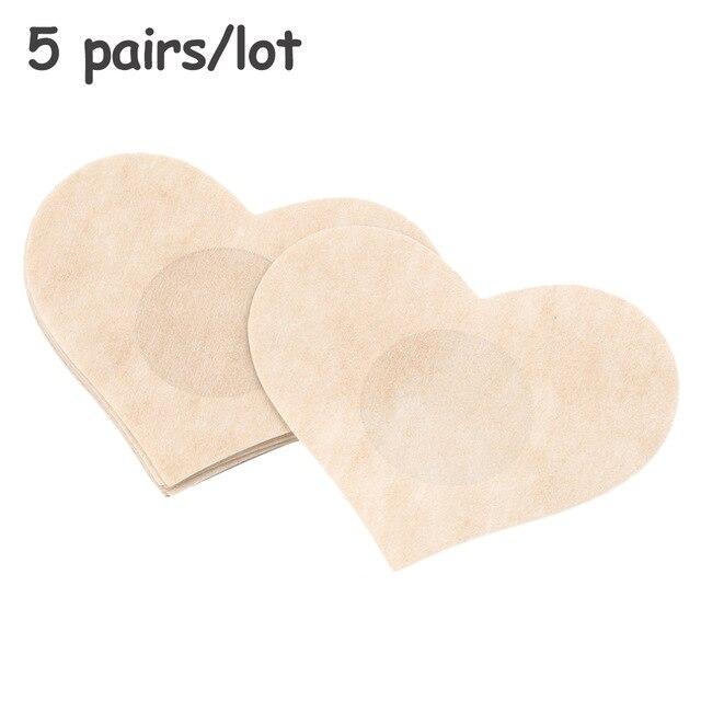 CXZD 10 шт.(5 пар) женское нижнее белье бюстгальтер без косточек приподнимает грудь клейкие ленты клейкая лента для бюстгальтера самоклеящаяся наклейка на сосок - Цвет: Heart