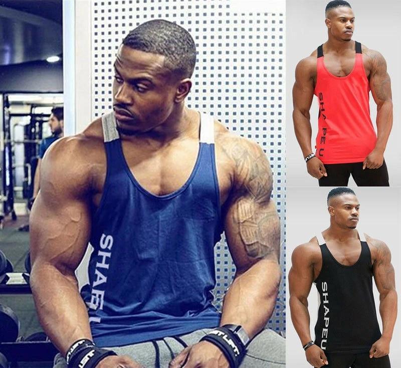 US Mens Bodybuilding Tank Top Gym Fitness Singlet Muscle Vest Tee Shirt M~XL