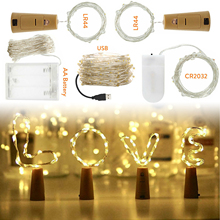 9 Colors 1M 2M 3M 5M 10M LED String Light Cork Fairy Lights Garlands Holiday Lamp USB/Battery Powered for Xmas New Year Decor