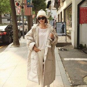 Image 2 - EWQ Chaqueta de invierno con capucha y bolsillos dobles para mujer, Abrigo acolchado de algodón de manga larga con cremallera, AH53012L, a la moda, 2020
