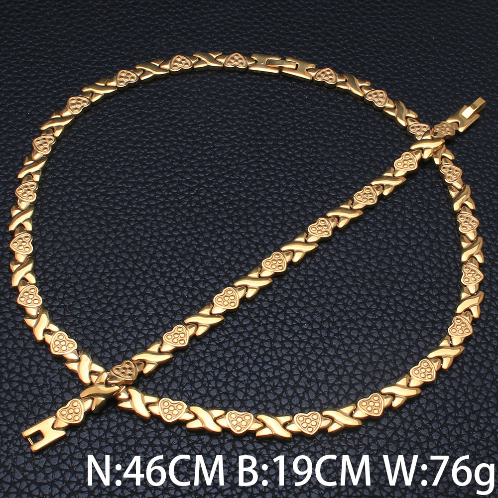 Wholesale Fashion Stainless Steel Metal Silver& Gold Color Plated Heart Chain Necklace & Bracelet Jewelry Set For Woman SFKKAADE