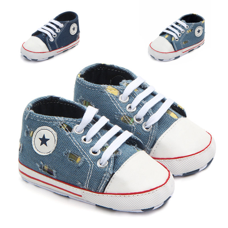 Baby Shoes For Boys And Girls Toddler Newborn Canvas Shoe Cotton Soft Anti-Slip Sole Infant First Walkers Navy Crib Shoes
