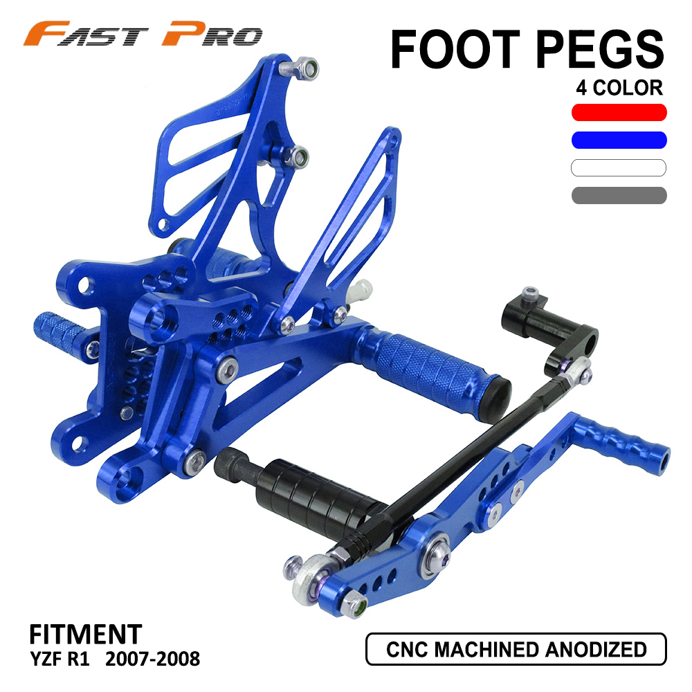 CNC Motorcycle Adjustable Billet Foot Pegs Pedals Rest For YAMAHA YZF <font><b>R1</b></font> YZFR1 YZF-<font><b>R1</b></font> <font><b>2007</b></font> 2008 07 08 image