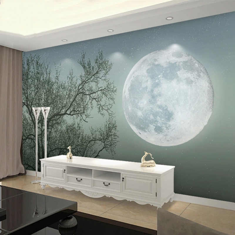 Modern Self Adhesive Waterproof Wallpaper 3d Abstract Tree Moon Landscape Mural Living Room Bedroom Home Decor Wall Stickers 3 D Wallpapers Aliexpress