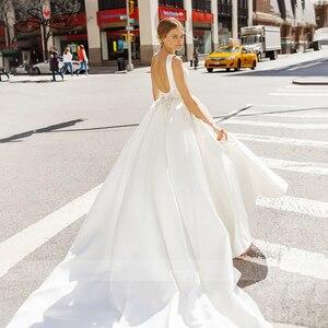 Image 2 - BAZIIINGAAA  Luxury Wedding Dress Satin V neck Sleeveless Bridal Luxury Crystal Decoration Wedding Dress Support Tailor made