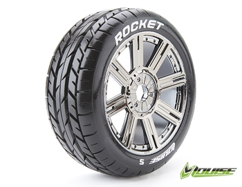 louise 3190SBC 1/8 0 offset Rocket Rubber GT OFFROAD 17mm nut plating wheel tire RIM PRE MOUNTED ARRMA Buggy truck Touring Cars