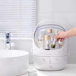 Image 4 - JULYS SONG Caja de almacenaje para maquillaje, organizador de cosméticos portátil, contenedor de maquillaje grande, estuche de almacenamiento para baño, de escritorio