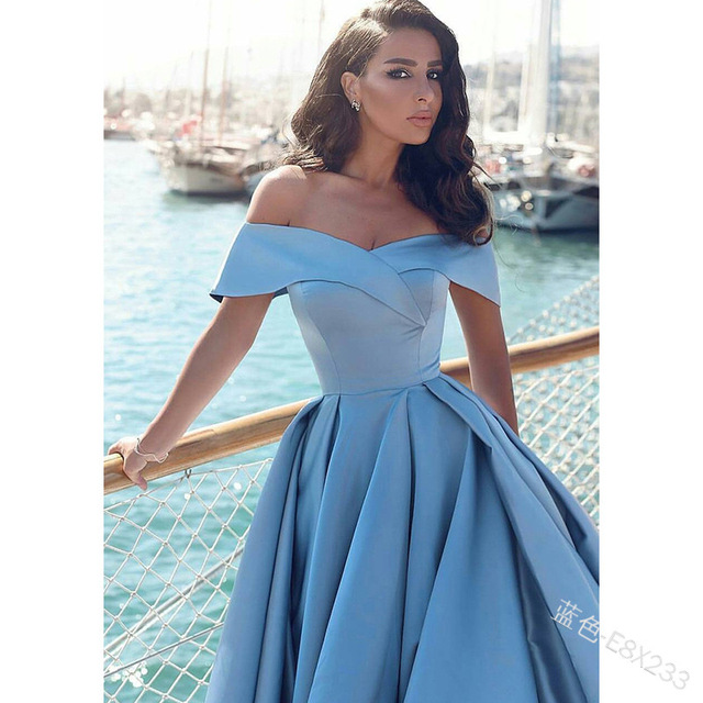 Fashion Elegant Boat Neck Evening Dresses for Women Party Classy Night Lady Sexy Off The Shoulder Slit Ball Gown Prom Vestidos 2