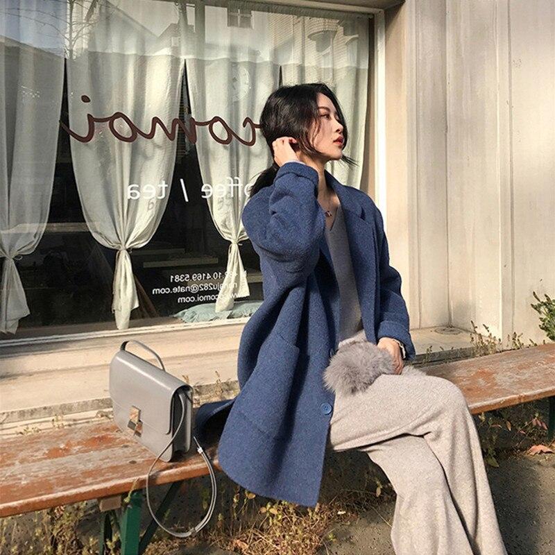 Women Autumn fashion woolen Solid Woolen Coats Cardigan Elegant Coat Wool & Blends  - AliExpress