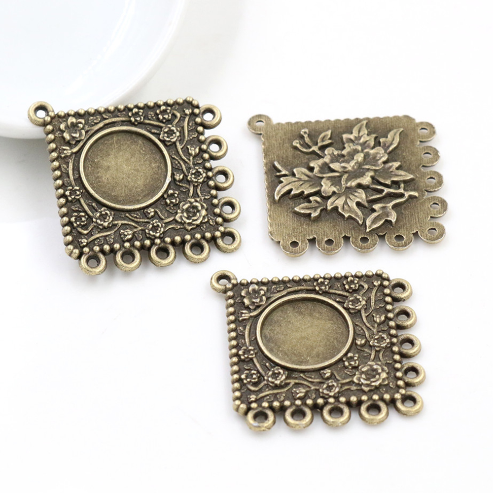 10pcs 12mm Inner Size Antique Bronze Flower Style Cabochon Base Cameo Setting Charms Pendant (A1-45)