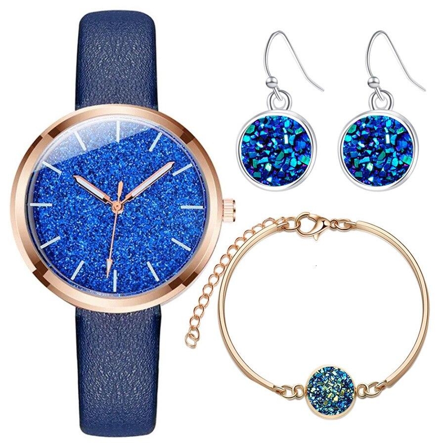 Twinkle Color Quartz Watch Women Send Crystal Earrings And Bracelet Jewelry Set Personality Watches Women Fashion Watch 2019 PU