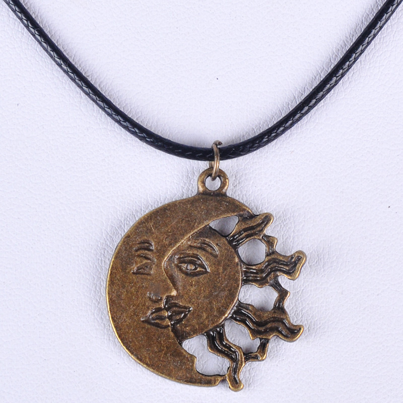 27*30MM Vintage bronze antique ancient moon sun pendant necklace women wax cord rope necklace jewelry fashion alloy jewellery