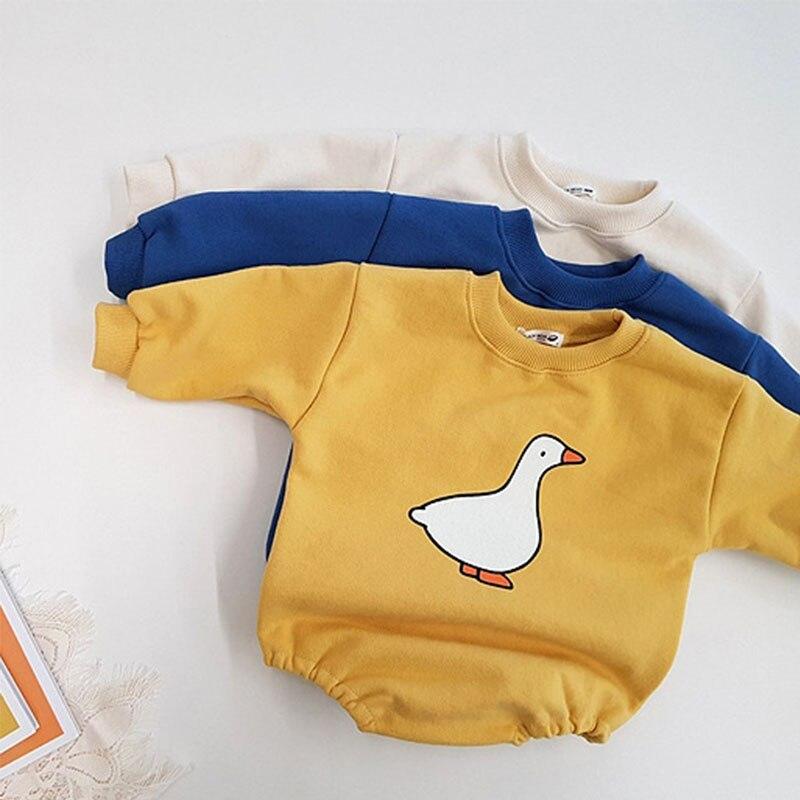 Newborn Baby Clothing Cute Duck Print Infant Boys Girls Bodysuit Long Sleeve Cartoon Jumpsuit Cotton Baby Clothes