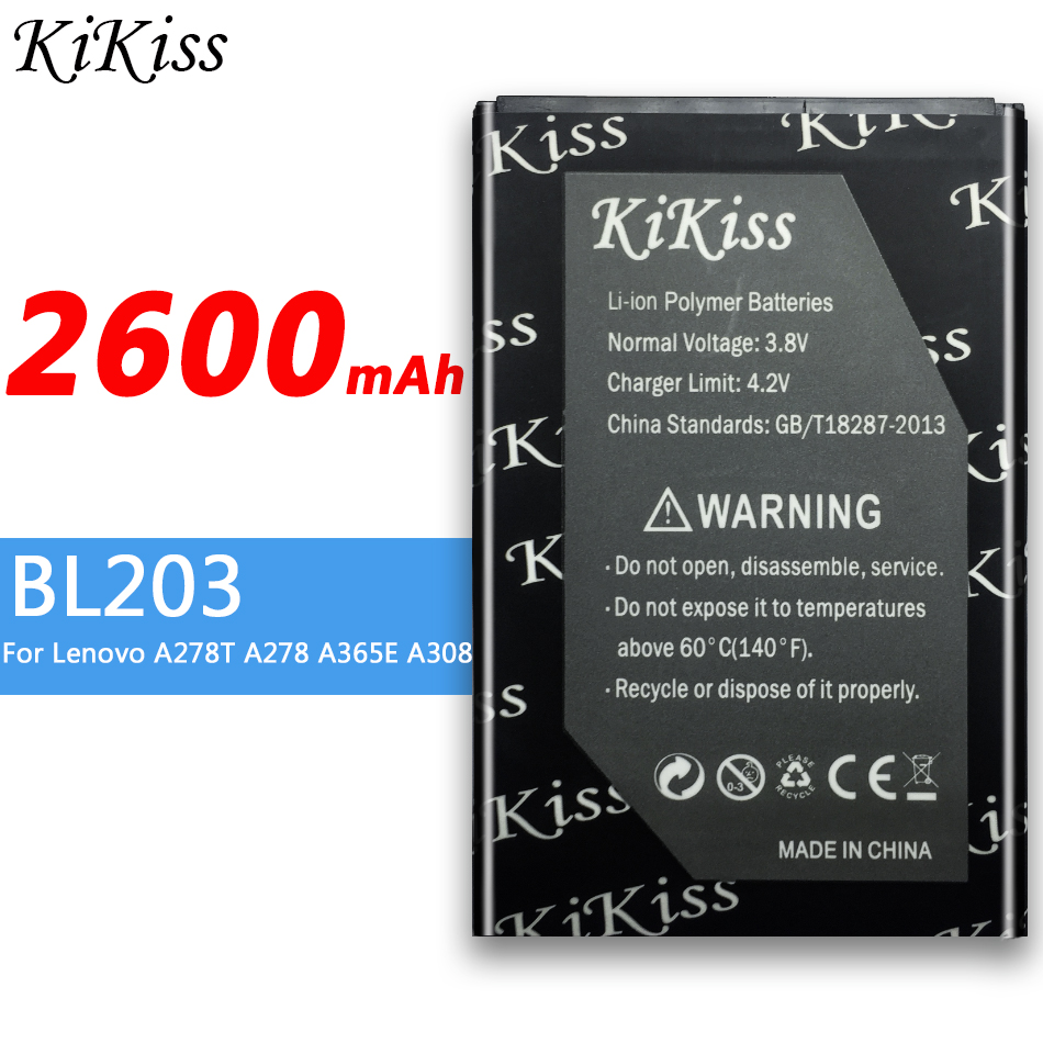 BL203 2600mAh High Capacity Battery For Lenovo A278T A278 A365E A308T A369 A66 A318T A385E A309 Mobile Phone image