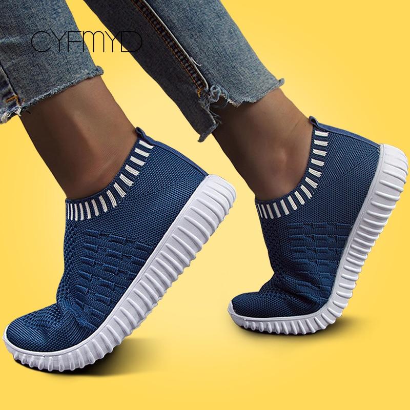 Sneakers Women Vulcanized Shoes Knitting Large Size 43 Slip On Non Slip Mesh Platform Trainers Women Sock Sneakers Loafers