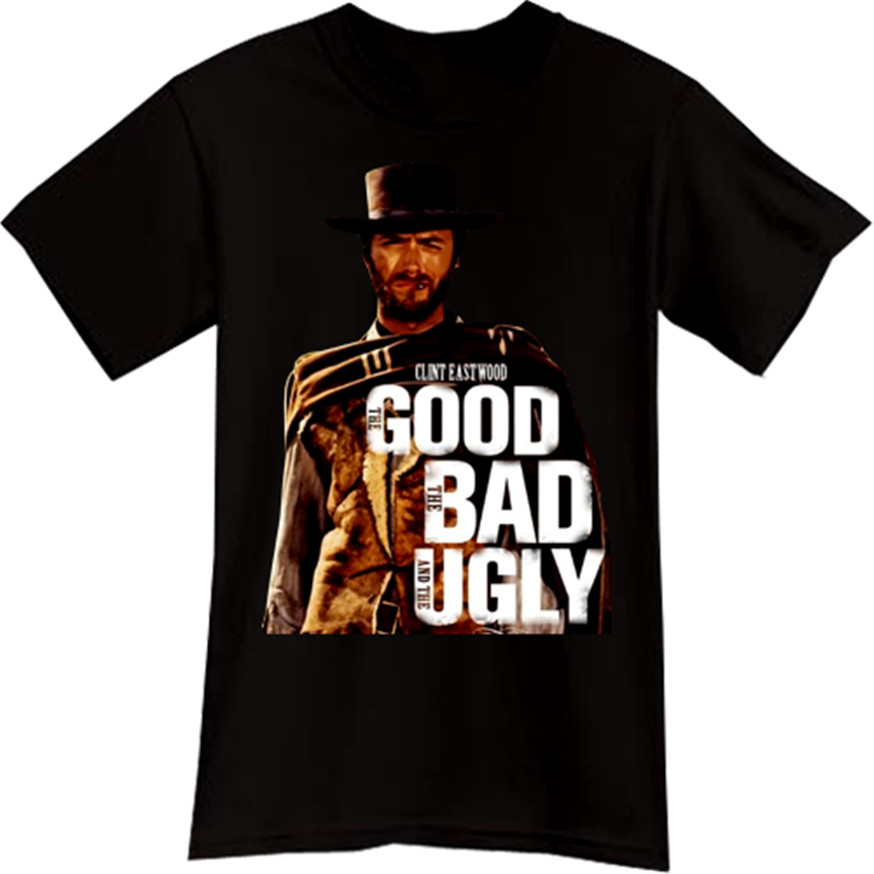 Clint Eastwood The Good The Bad The Ugly Western Cowboy Movie Black T-Shirt Tee High Quality Casual Printing Tee Shirt image
