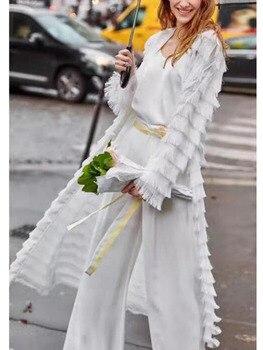 2019 New Autumn / spring Womens Fur chiffon Tassel Long dress Cardigan Plush Sleeve robe Female Loose Windbreaker Coat