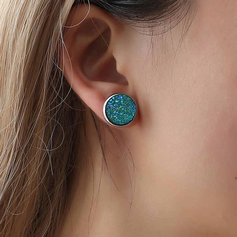 2019 ใหม่ Hot Crystal Shine Ear Hoop ต่างหูผู้หญิง 10 สีรอบ Cubic Zircon Charm ดอกไม้เครื่องประดับของขวัญ