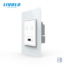 Livolo S5 US AU Standard 67.5mm Wall Touch Switch,2Way Remote Control,white crystal glass,plastic key,push button,with plugs