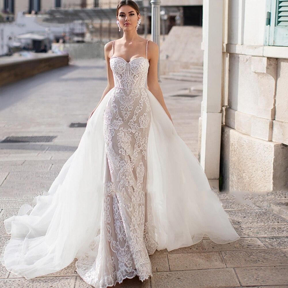 Eightree Gorgeous Mermaid Wedding Dresses Detachable Train Appliques Lace Bride Dress Beading Spaghetti Straps Wedding Gowns