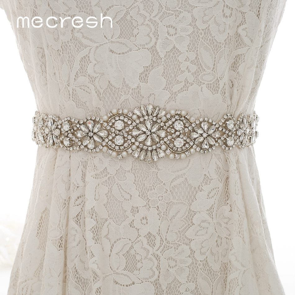 Mecresh Elegant Silver Color Crystal Bridal Wedding Dress Belt for Women Handmade Flower Rhinestone Ribbon Bride Belt MYD033