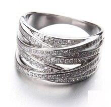 רב שכבה X טבעות & נשים אצבע למעלה איכות 925 כסף סטרלינג תכשיטי אופנה 100% 925 כסף סטרלינג טבעת חתונה מתנה