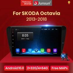 Junsun-Radio Multimedia V1 con GPS para coche, Radio con reproductor, navegador, 2 GB + 32 GB, Android 10,0, 4 GB, A7, 2 din, para SKODA Octavia