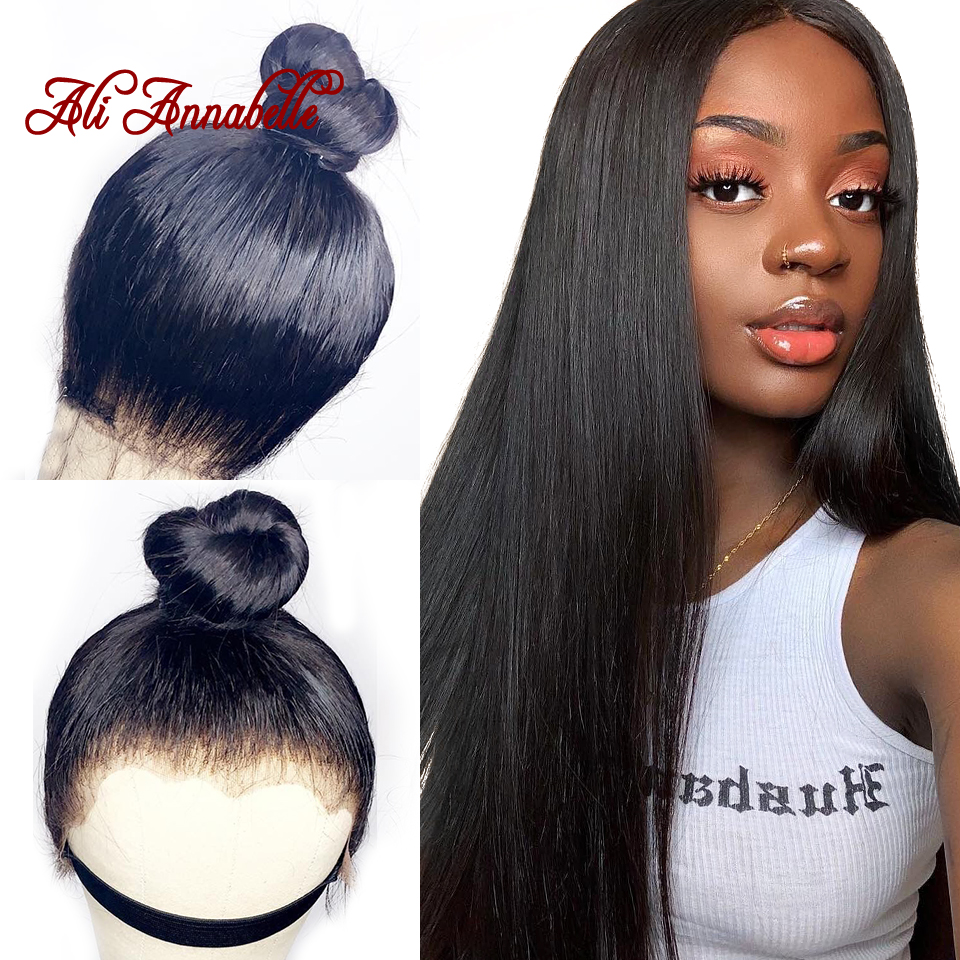Ali Annabelle Brazilian Straight Lace Front Human Hair Wigs For Women Remy Hair Straight Wig With Baby Hair Natural Hairline