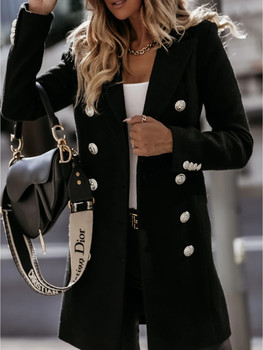 Zoulv Winter Long Sleeve Suit Lapel Double-breasted Woolen Coat Metal Single-breasted Jacket Office Ladies Casual Trench