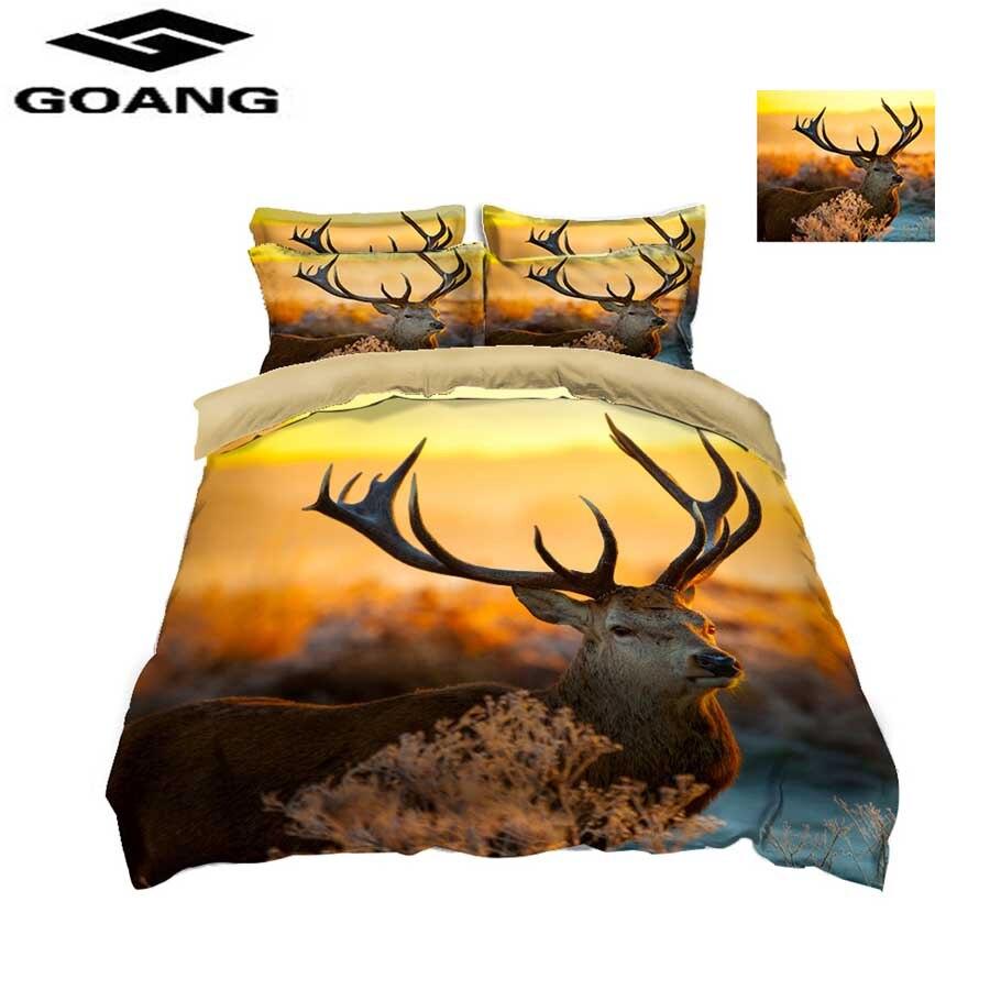 GOANG 3D Sunset Landscape Deer Bedding Set Queen/Twin/King Size Christmas Decoration For Home